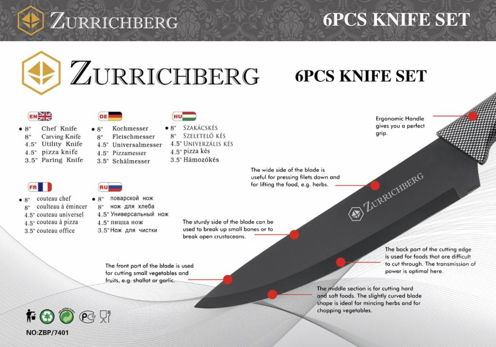 Zurrichberg Keukenmessenset 6-delig