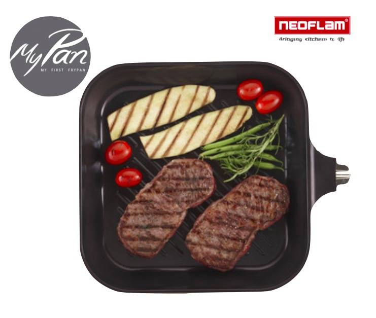 Neoflam Grill Pan met Keramische Coating en afneembaar handvat 28cm
