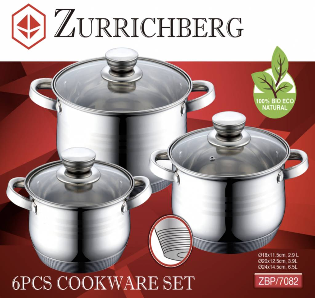 Zurrichberg Pannenset 6-delig + Messenset 6-delig Bundel Combo
