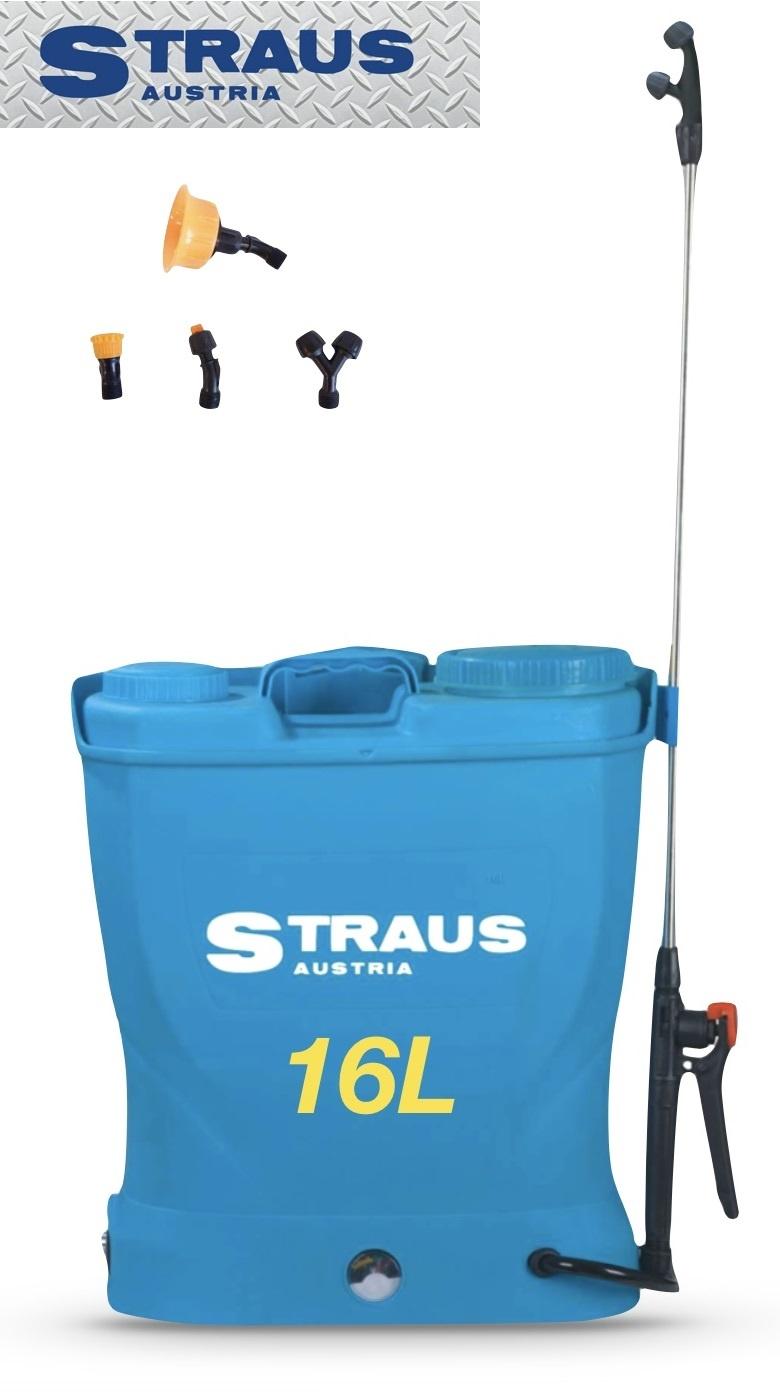 Straus Accu-rugsproeier / drukspuit + 4 koppen 16L Draadloos
