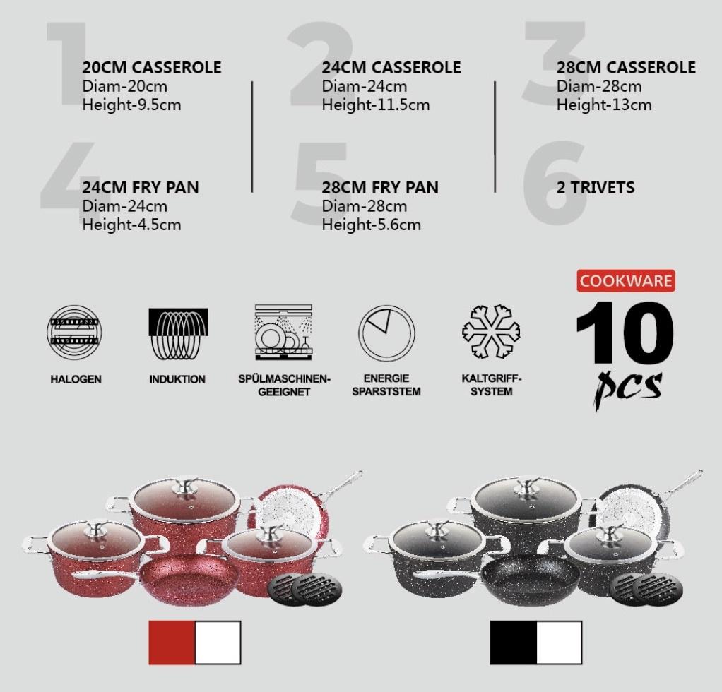 Zurrichberg 10-delige Pannenset Gegoten Aluminium met Marmer-Coating