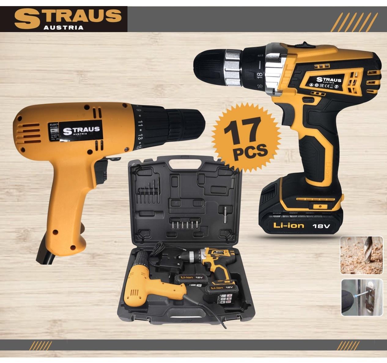 Straus Combiset 18V Accu Schroefboormachine + Slagschroefdraaier Combopack 17-delig