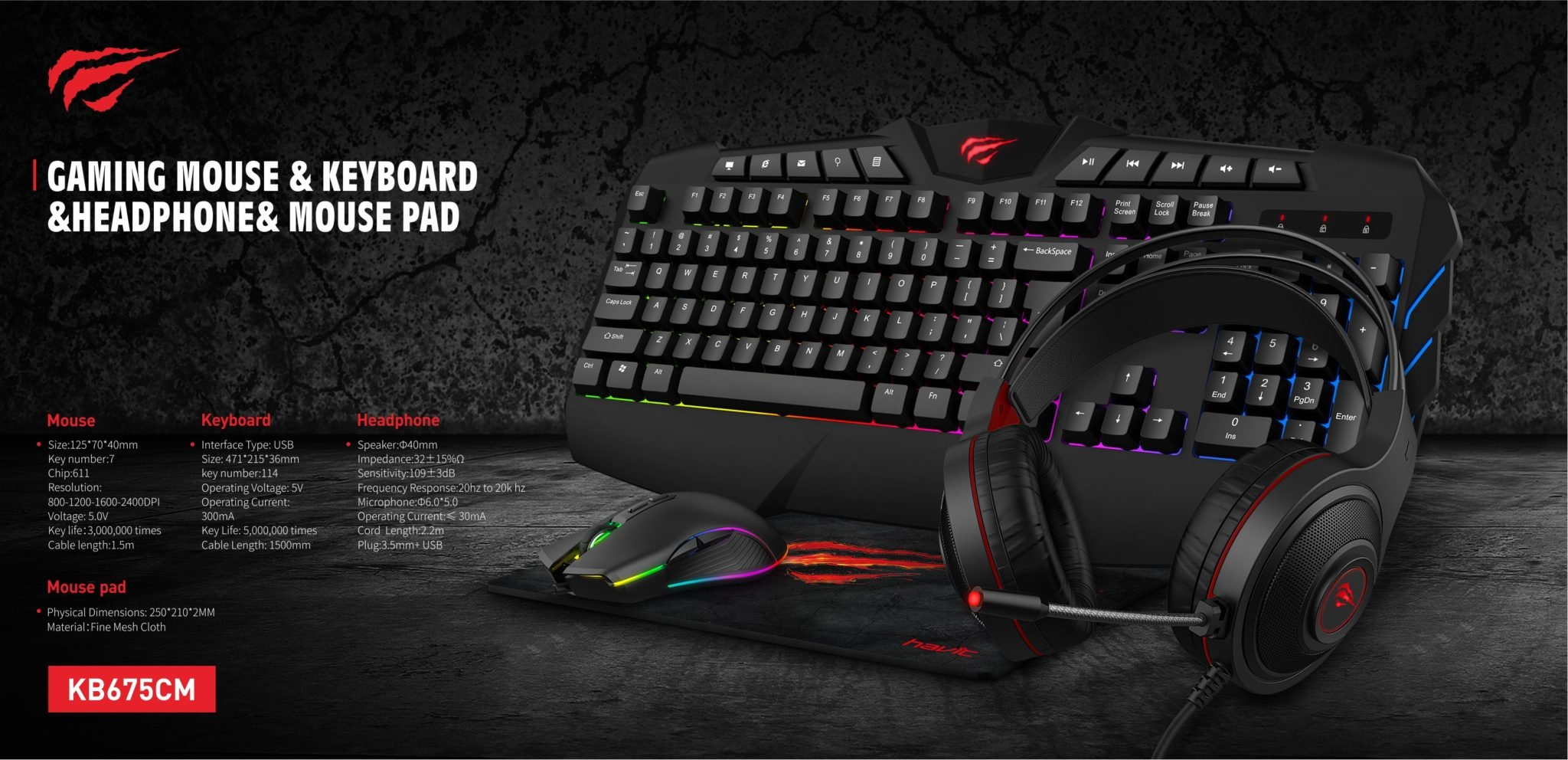 Havit 4-in-1 Gaming Set Bundle - Gamer Toetsenbord + USB Headset +  Instelbare DPI Muis + Gamer Muismat