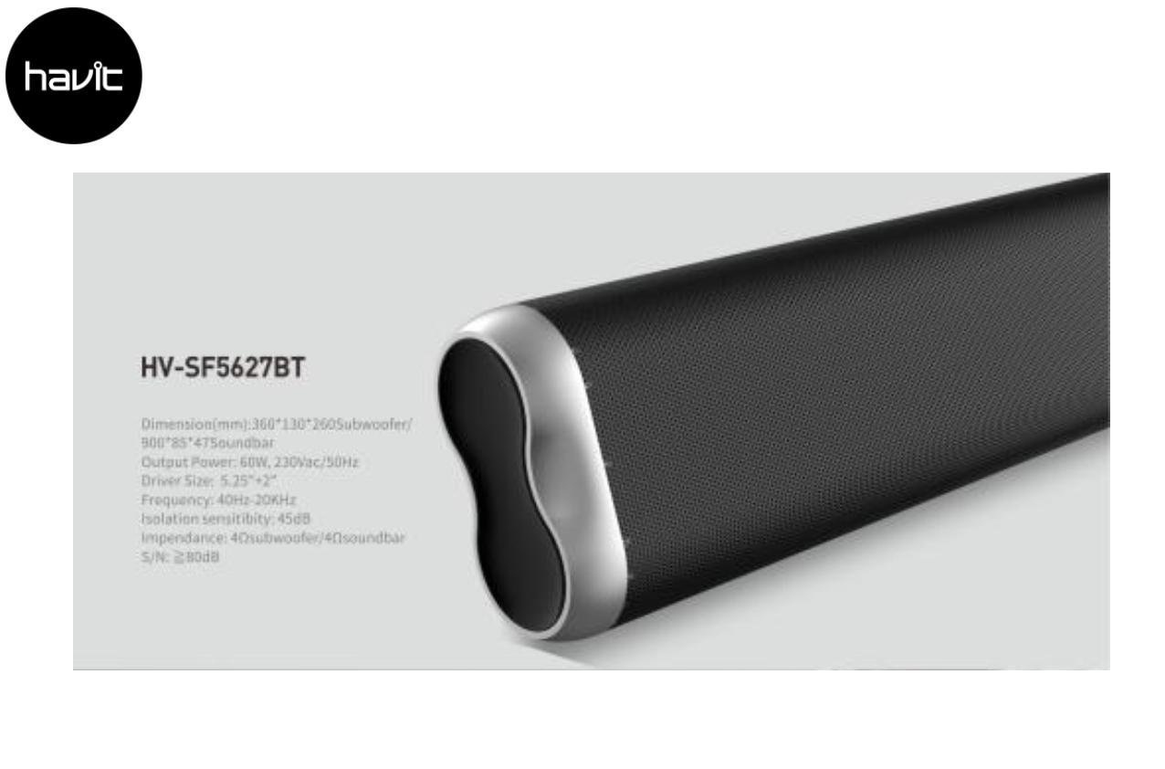 Havit Bluetooth Soundbar met Subwoofer Draadloos incl. Afstandsbediening