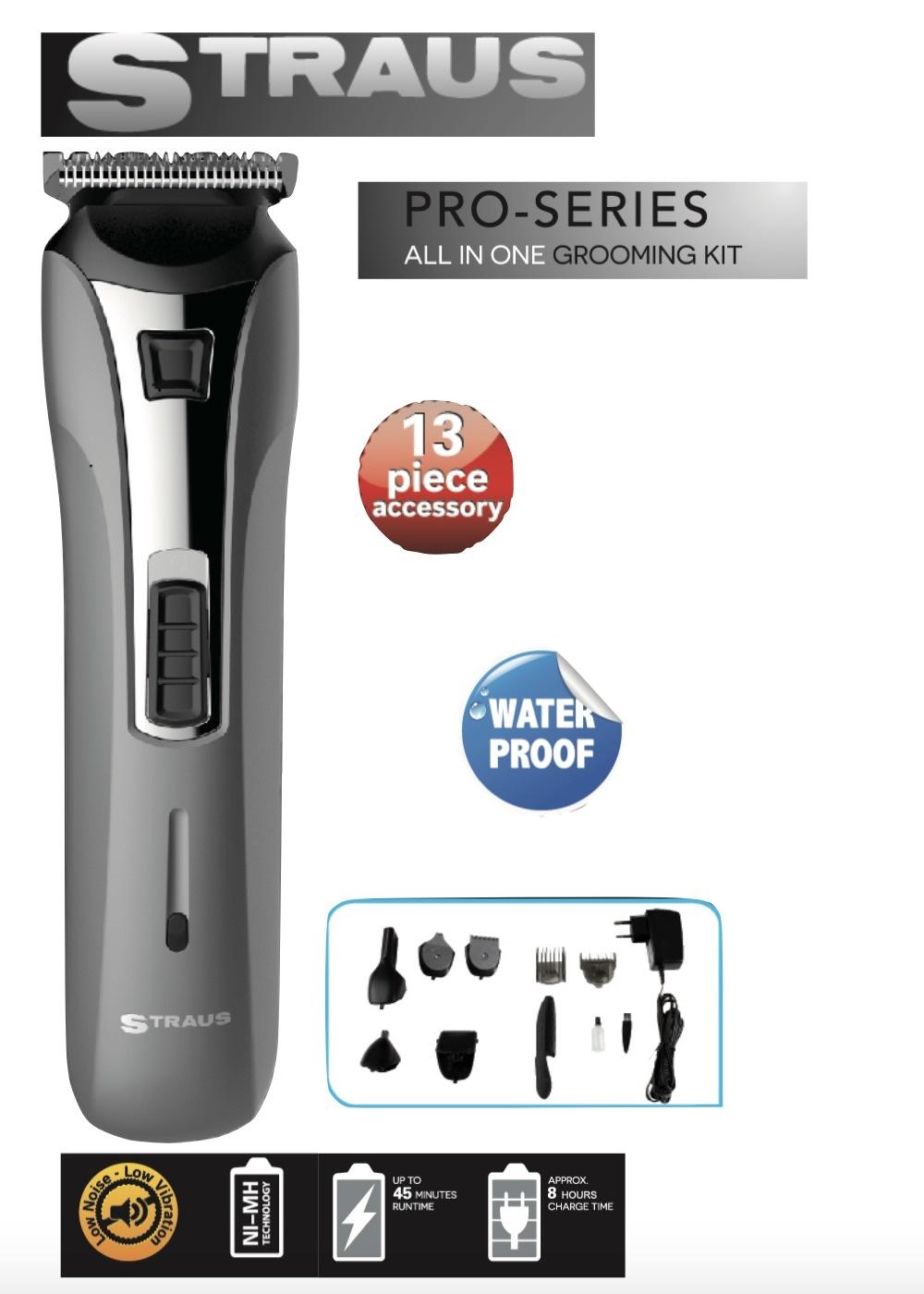 Straus Multi Grooming Kit 13-in-1 Precisietrimmer voor baard- en haarstyling waterbestendig incl. opbergzak