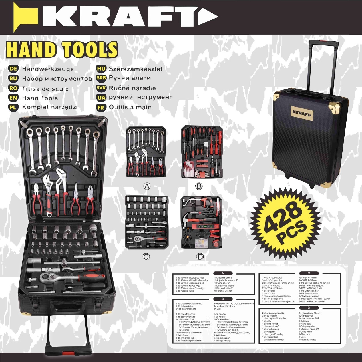 Kraft 428-delig Gereedschapskoffer - trolley