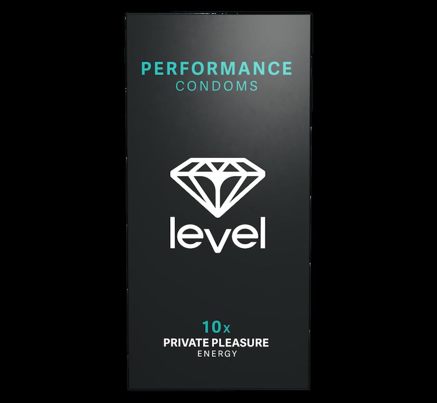Level Performance Kondome - 10 stück | Höhepunkt des Mannes zu verzögern.