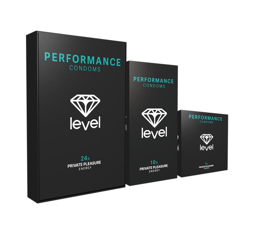 Level Performance - Condoms - 24 pack | Enjoy more and for longer.