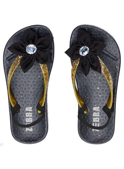 Slippers met hakbandje zwart / goud