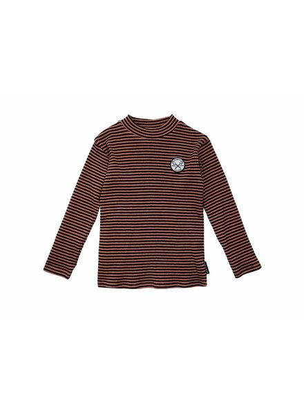 Sproet & Sprout Longsleeve t-shirt zwart rood gestreept marshmallow