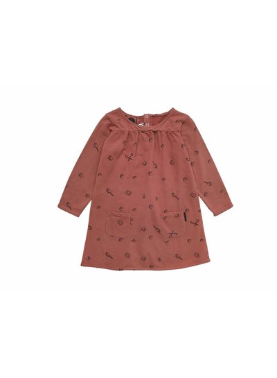 Sproet & Sprout Sweatdress Marshmallow allover cedar