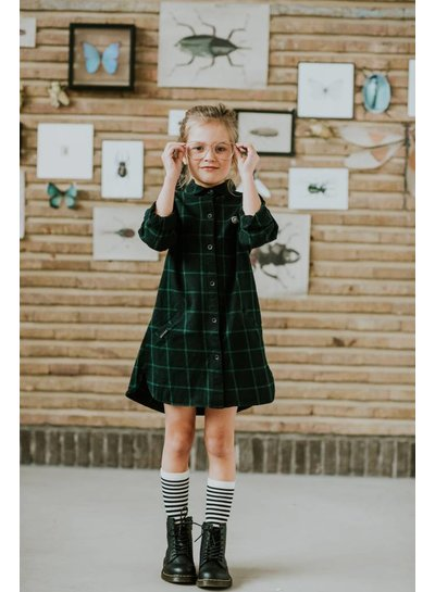 Sproet & Sprout Shirt dress Check zwart met groen