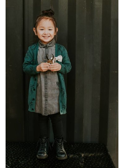 Sproet & Sprout Cardigan bugs allover Dark Forest Green