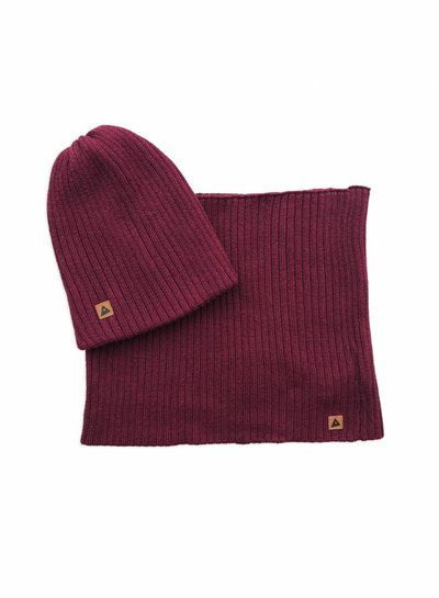 Ammehoela Beanie en Snood Bobbie bordeaux