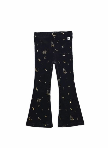 Ammehoela Velvet flared pants with gold print