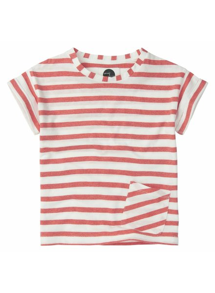 Sproet & Sprout T-shirt 'Stripe Red' - summer white & red pepper