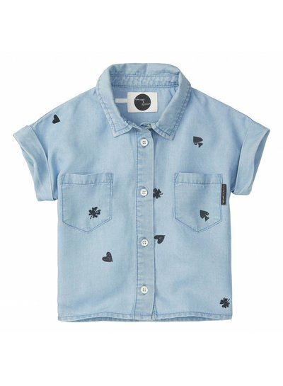 Sproet & Sprout Blouse 'Playing Cards AOP' - vintage denim
