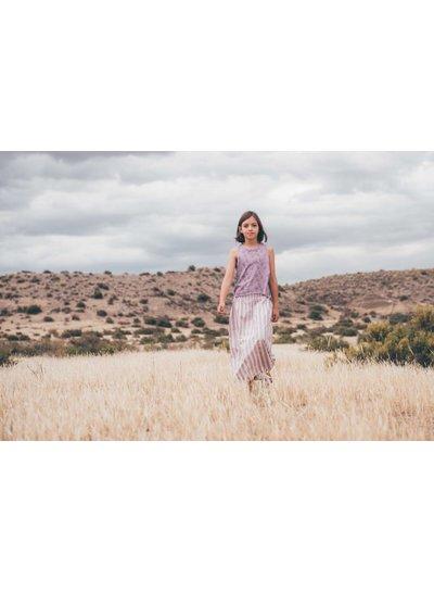 Sproet & Sprout Lange rok 'Stripe' - shell & dusty violet