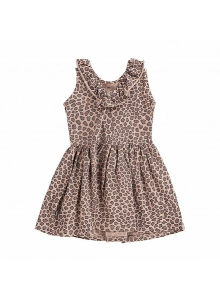 House of Jamie Sleeveless ruffled dress Leopard Caramel