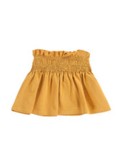 House of Jamie Smocked Skater Skirt - Honey Mustard