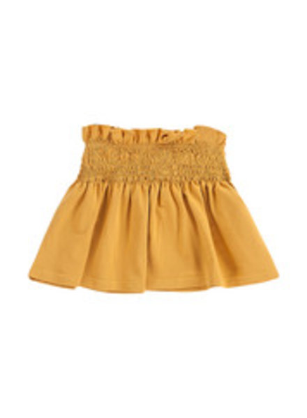 House of Jamie Smocked Skater Skirt - Honey Mustard