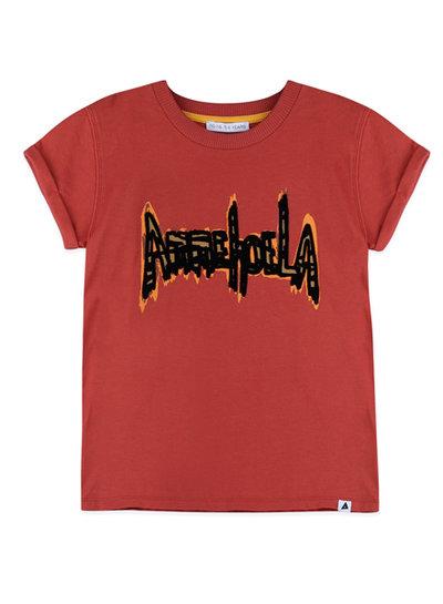 "Ammehoela Shirt Zoe in warm rode kleur met ""Ammehoela"" opdruk"