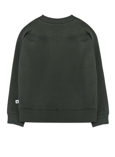 """Ammehoela Sweater Rocky in donker groen met """"Ammehoela"""" opdruk"""