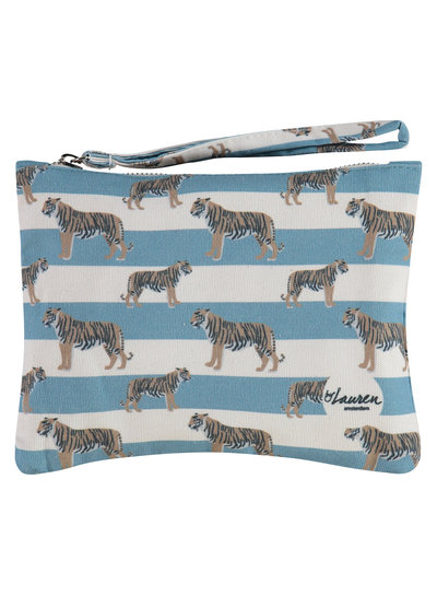 By Lauren  TIGERS & STRIPES BLUISH GREY CLUTCH