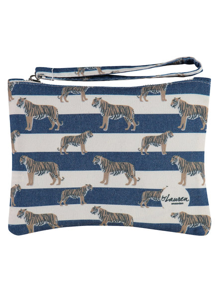 By Lauren  TIGERS & STRIPES ROYAL NAVY CLUTCH