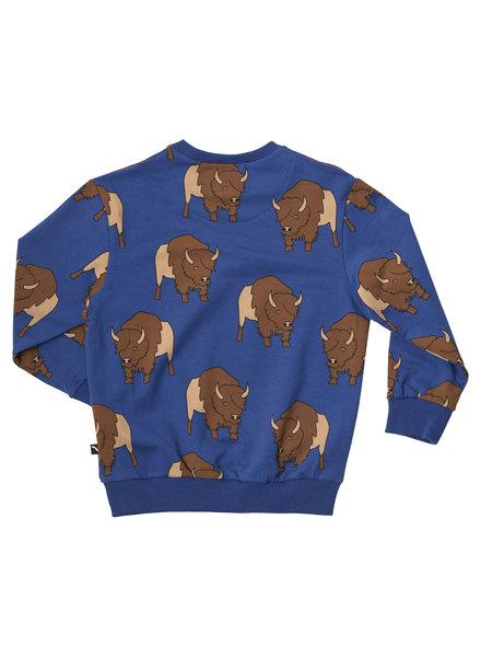 CarlijnQ Bison! Gave blauwe sweater met bison opdruk