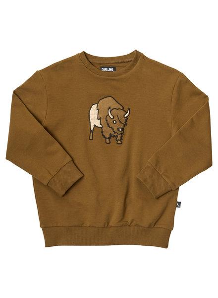 CarlijnQ Bison! Gave bruine sweater met grote geborduurde bison