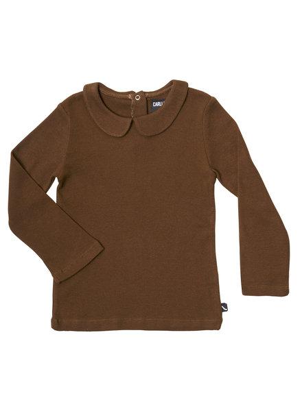 CarlijnQ Basics bruin, geribt shirt met leuke kraag