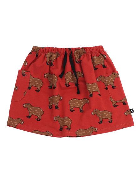 CarlijnQ Capibara rood rokje met dierenprint