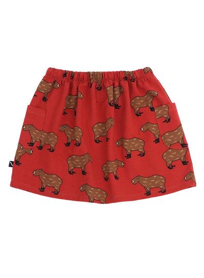 CarlijnQ Capibara, een rood rokje met vrolijke dierenprint