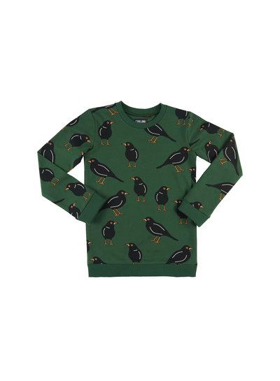 CarlijnQ Black bird groene sweater met vogel print