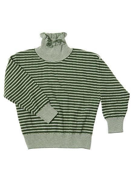 CarlijnQ Striped knitted sweater, groen wit gestreept met stoere col