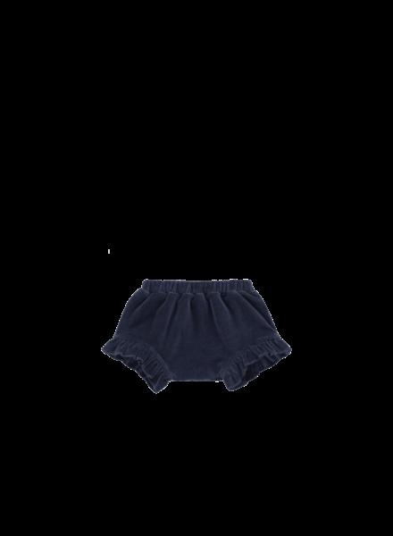 House of Jamie Ruffled shorts midnight velvet blue