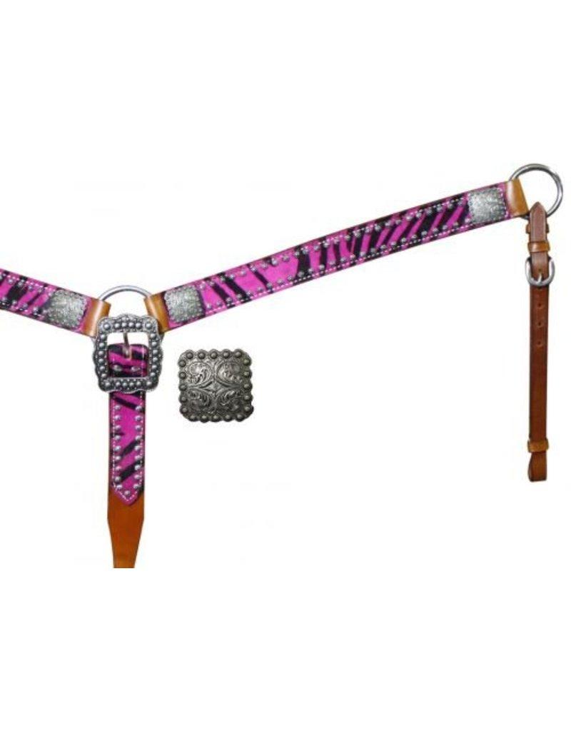 Showman ®  Belt Style Hair On Zebra Print Breast Collar