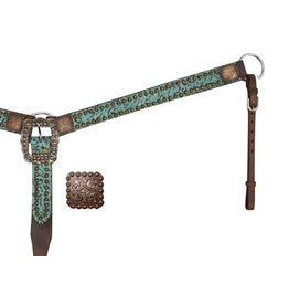 Showman ® Belt Style Leather Filigree Print Breast Collar.