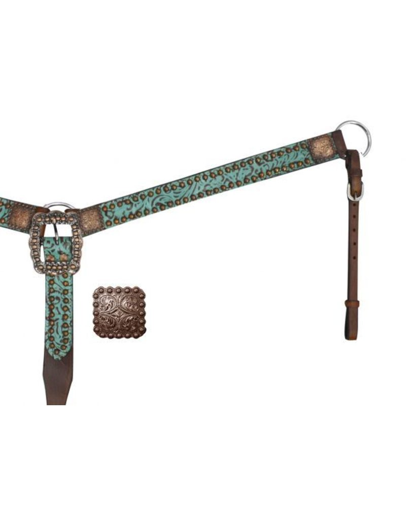 Showman ®  Belt Style Leather Filigree Print Breast Collar.