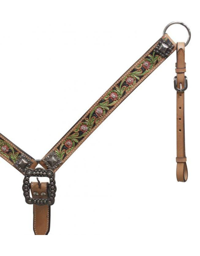 Showman ®  Belt Style Painted Floral Tooled Leather Breast Collar