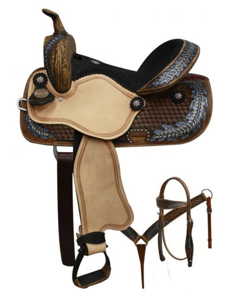 "Double T  14"", 15"" Double T  barrel style saddle with oak leaf tooled design"
