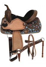 "Double T  14"", 15"", Double T  barrel style saddle set with metallic painted tooling."