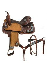 "Double T 14"", 15"", Double T  barrel style saddle set with embroidered Navajo"
