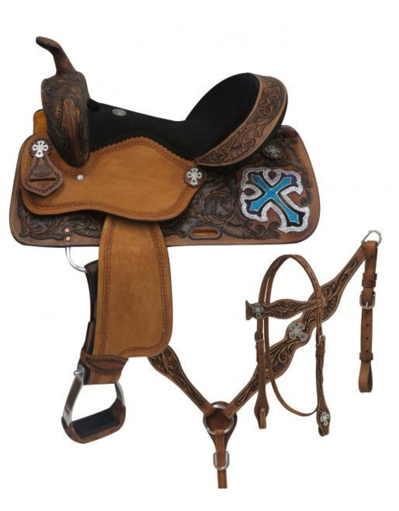 "Double T   14"", 15"", 16"" Double T  barrel style saddle set with metallic cross."