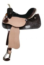 "15"", 16"" Double T barrel saddle with silver laced rawhide cantle, tooled roughout fenders and jockies."