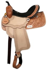 """15"""", 16"""" Double T barrel saddle with silver laced black rawhide cantle, tooled roughout fenders and jockeys."""