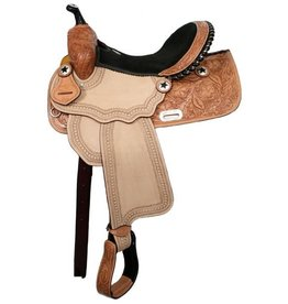 "15"", 16"" Double T barrel saddle with silver laced black rawhide cantle, tooled roughout fenders and jockeys."