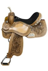 Double T barrel saddle with floral tooling and black inlay.
