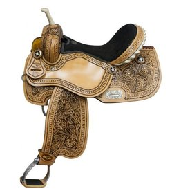 "Double T barrel saddle  14"",15"", 16"" with floral tooling and black inlay."